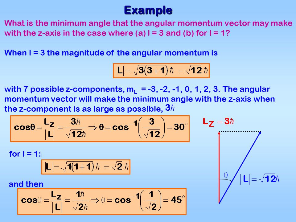 Example What is the minimum angle that the angular momentum vector may make with the z-axis in the case where (a) l = 3 and (b) for l = 1.