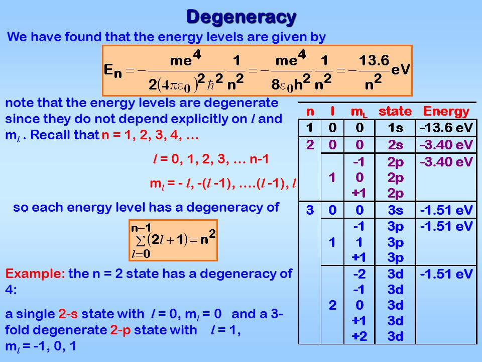 Degeneracy We have found that the energy levels are given by so each energy level has a degeneracy of note that the energy levels are degenerate since they do not depend explicitly on l and m l.