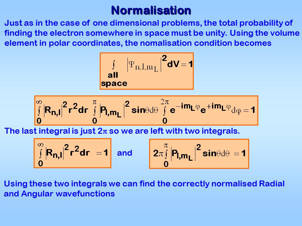 Normalisation Just as in the case of one dimensional problems, the total probability of finding the electron somewhere in space must be unity.