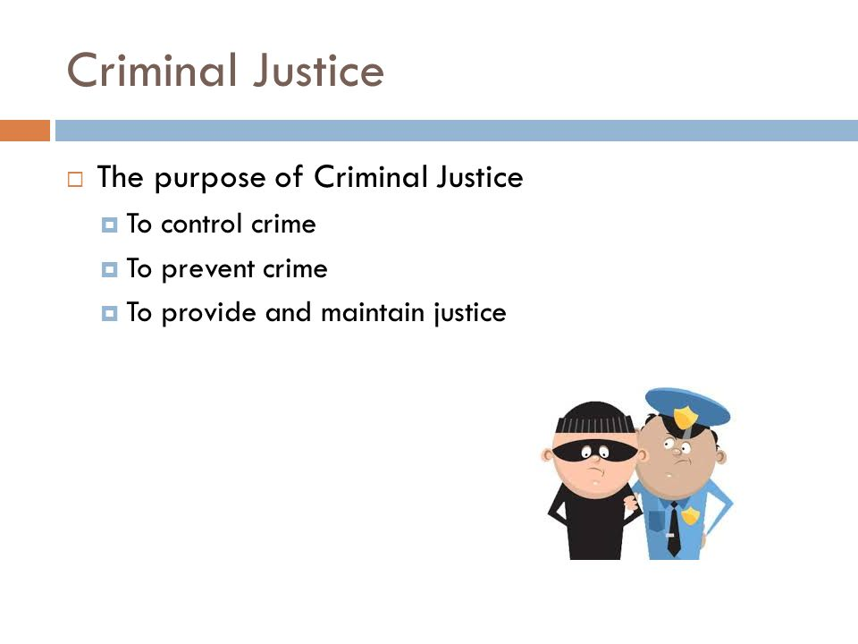 Criminal Justice  The purpose of Criminal Justice  To control crime  To prevent crime  To provide and maintain justice