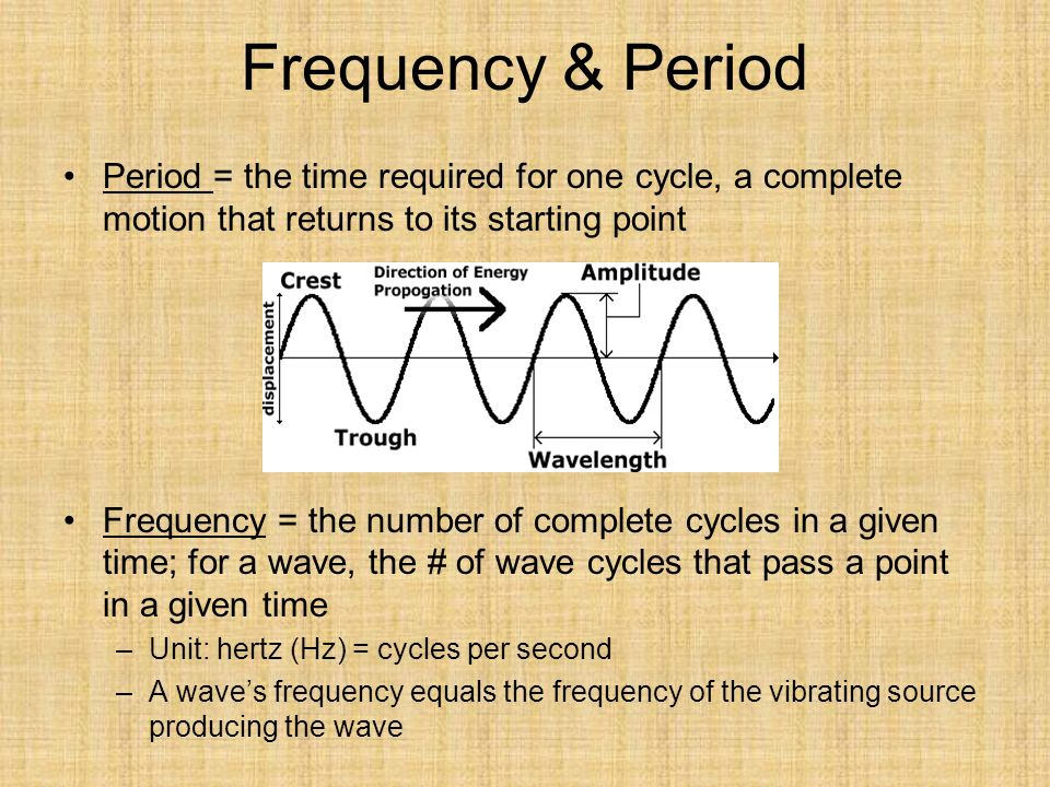 Frequency & Period Period = the time required for one cycle, a complete motion that returns to its starting point Frequency = the number of complete cycles in a given time; for a wave, the # of wave cycles that pass a point in a given time –Unit: hertz (Hz) = cycles per second –A wave's frequency equals the frequency of the vibrating source producing the wave