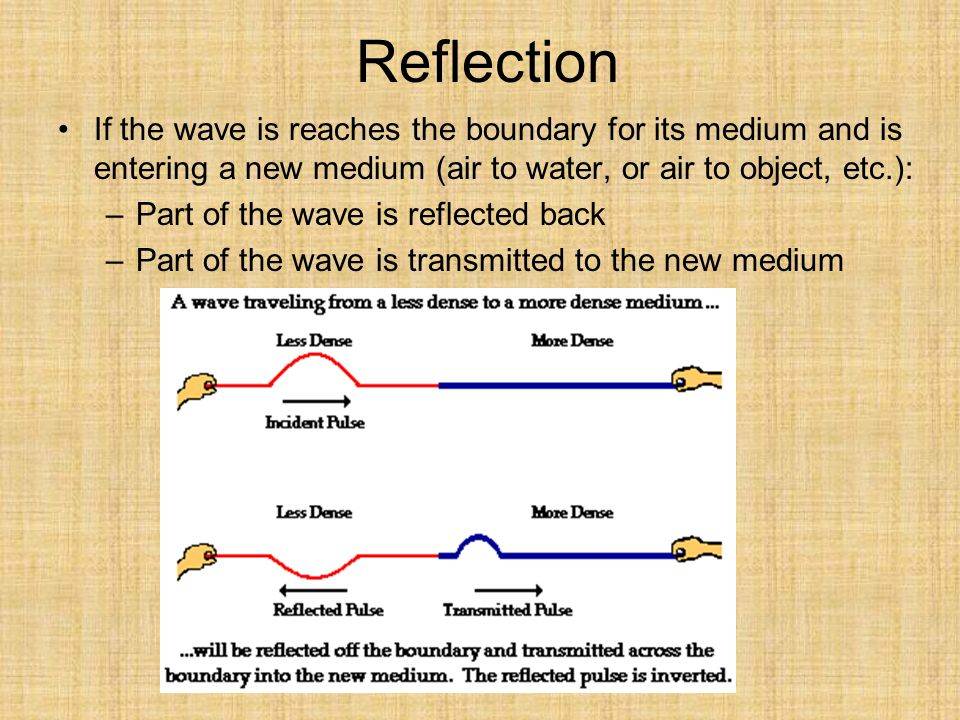 Reflection If the wave is reaches the boundary for its medium and is entering a new medium (air to water, or air to object, etc.): –Part of the wave is reflected back –Part of the wave is transmitted to the new medium