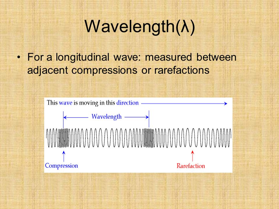 Wavelength(λ) For a longitudinal wave: measured between adjacent compressions or rarefactions
