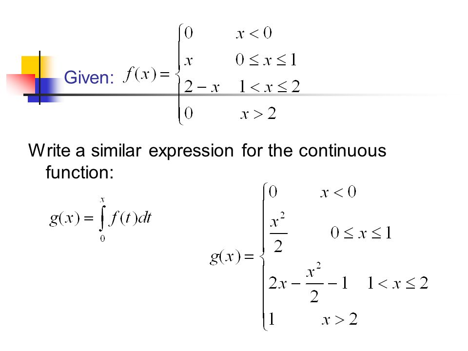 Given: Write a similar expression for the continuous function: