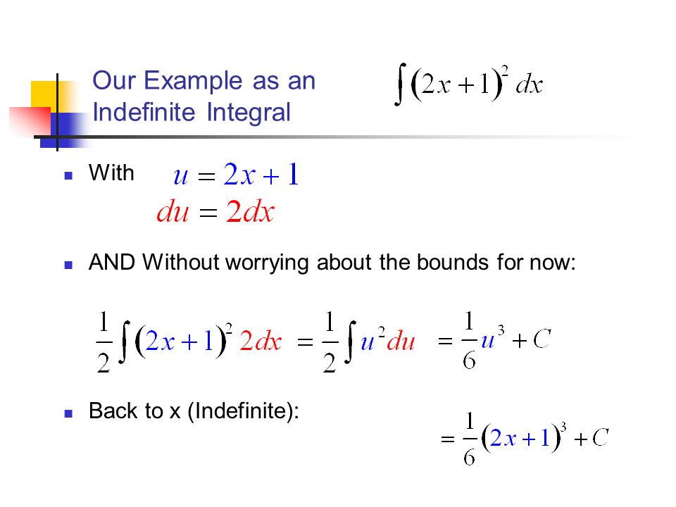 Our Example as an Indefinite Integral With AND Without worrying about the bounds for now: Back to x (Indefinite):