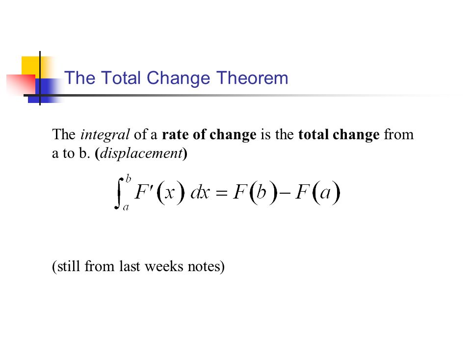 The Total Change Theorem The integral of a rate of change is the total change from a to b.