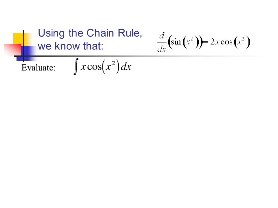 Using the Chain Rule, we know that: Evaluate: