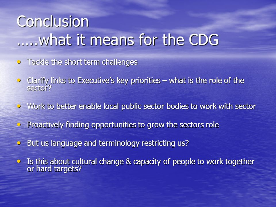 Conclusion …..what it means for the CDG Tackle the short term challenges Tackle the short term challenges Clarify links to Executive's key priorities – what is the role of the sector.
