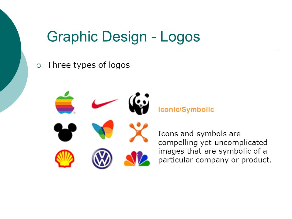 Graphic Design - Logos  Three types of logos Iconic/Symbolic Icons and symbols are compelling yet uncomplicated images that are symbolic of a particular company or product.