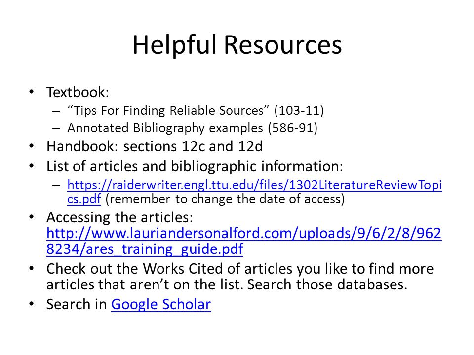 BA3: Annotated Bibliography Tips For Success  Before you