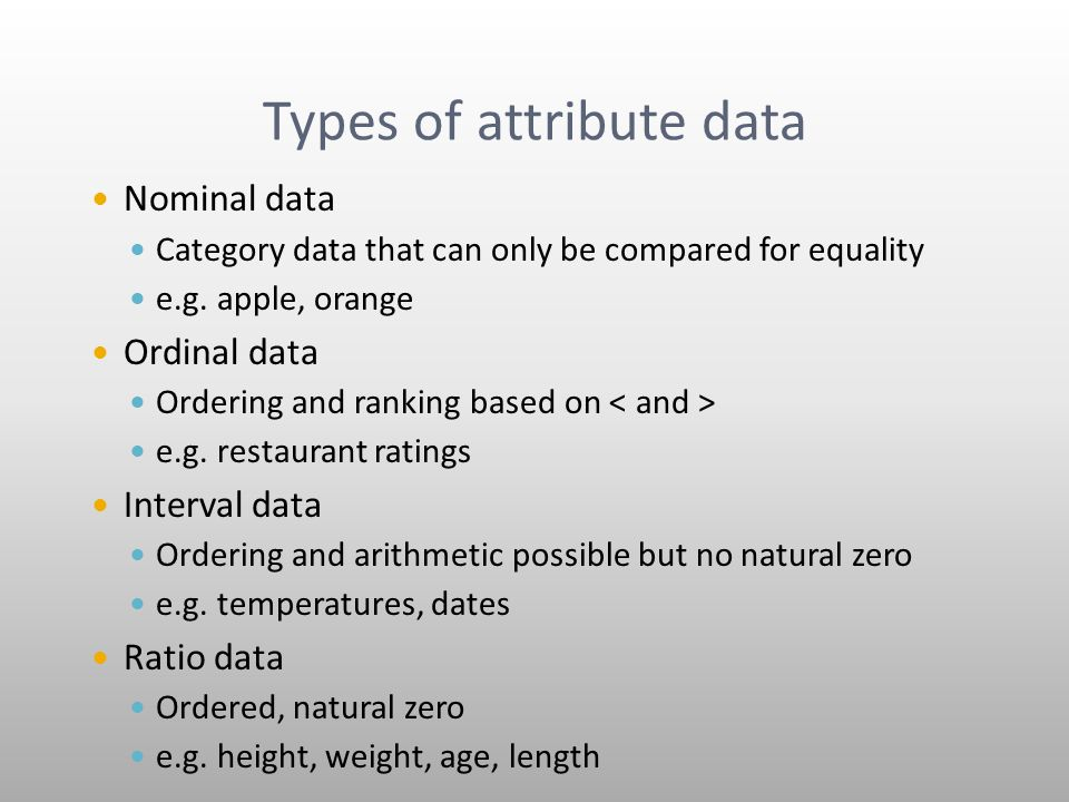 Types of attribute data Nominal data Category data that can only be compared for equality e.g.