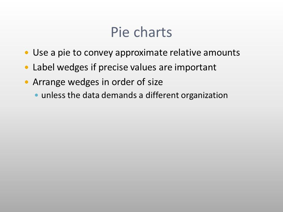 Pie charts Use a pie to convey approximate relative amounts Label wedges if precise values are important Arrange wedges in order of size unless the data demands a different organization