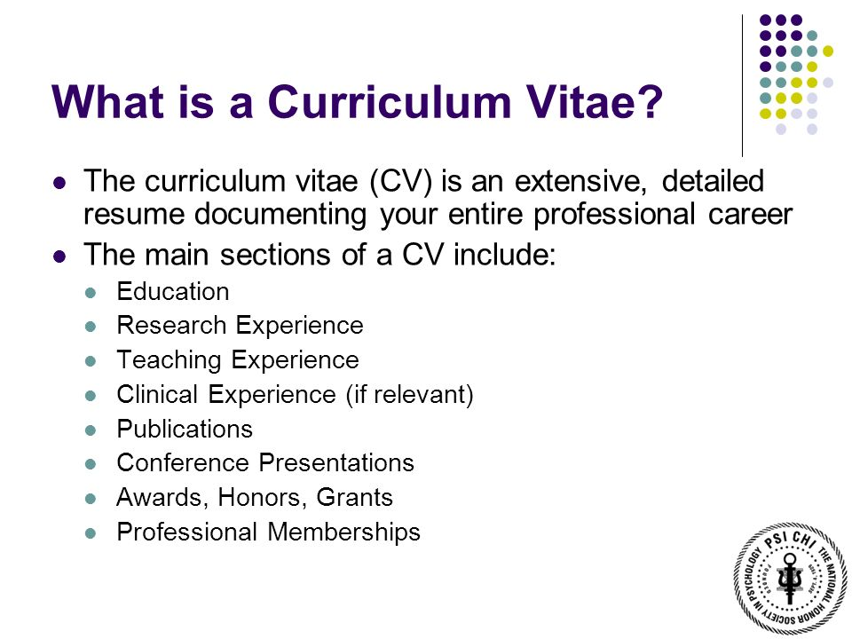 demystifying the curriculum vitae psi chi workshop dr bettina casad