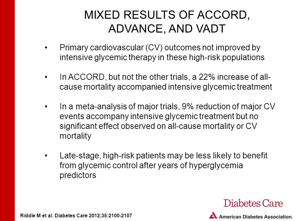 MIXED RESULTS OF ACCORD, ADVANCE, AND VADT Primary cardiovascular (CV) outcomes not improved by intensive glycemic therapy in these high-risk populations In ACCORD, but not the other trials, a 22% increase of all- cause mortality accompanied intensive glycemic treatment In a meta-analysis of major trials, 9% reduction of major CV events accompany intensive glycemic treatment but no significant effect observed on all-cause mortality or CV mortality Late-stage, high-risk patients may be less likely to benefit from glycemic control after years of hyperglycemia predictors Riddle M et al.