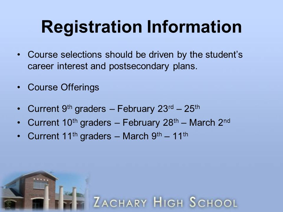 Registration Information Course selections should be driven by the student's career interest and postsecondary plans.