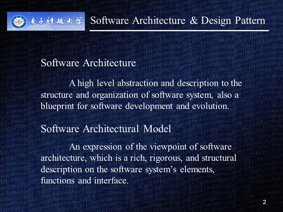 1 1 lecture 2 concepts of software architecture purposesobjectives 2 2 software architecture a high level abstraction and description to the structure and organization of malvernweather Choice Image