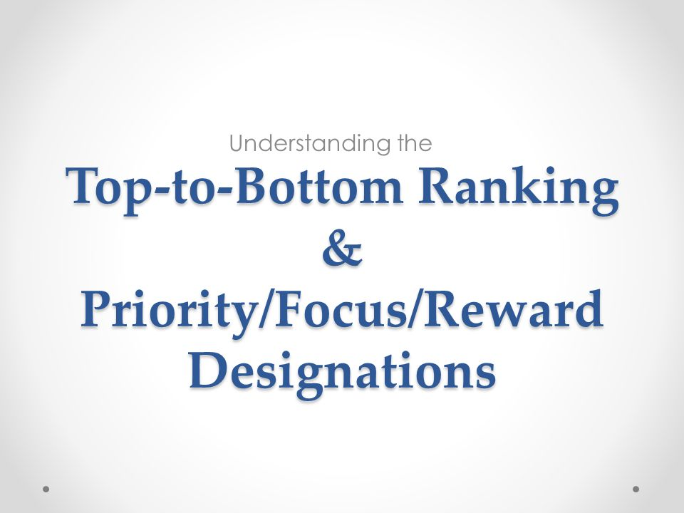 Top-to-Bottom Ranking & Priority/Focus/Reward Designations Understanding the