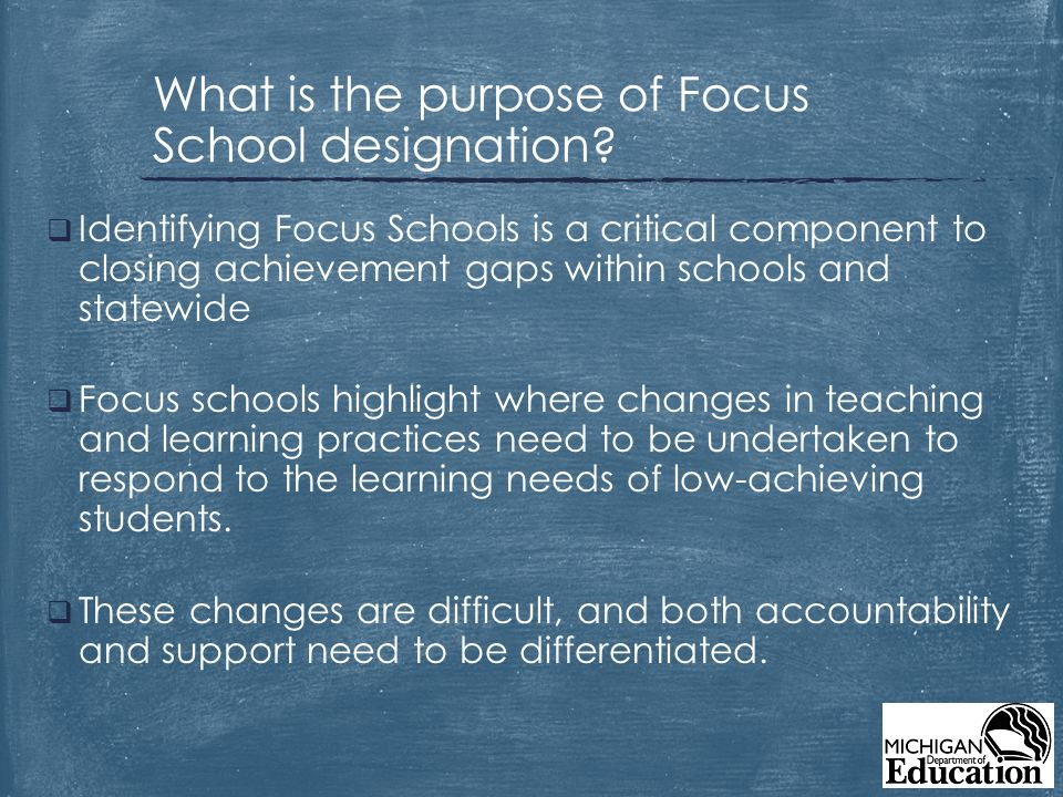  Identifying Focus Schools is a critical component to closing achievement gaps within schools and statewide  Focus schools highlight where changes in teaching and learning practices need to be undertaken to respond to the learning needs of low-achieving students.