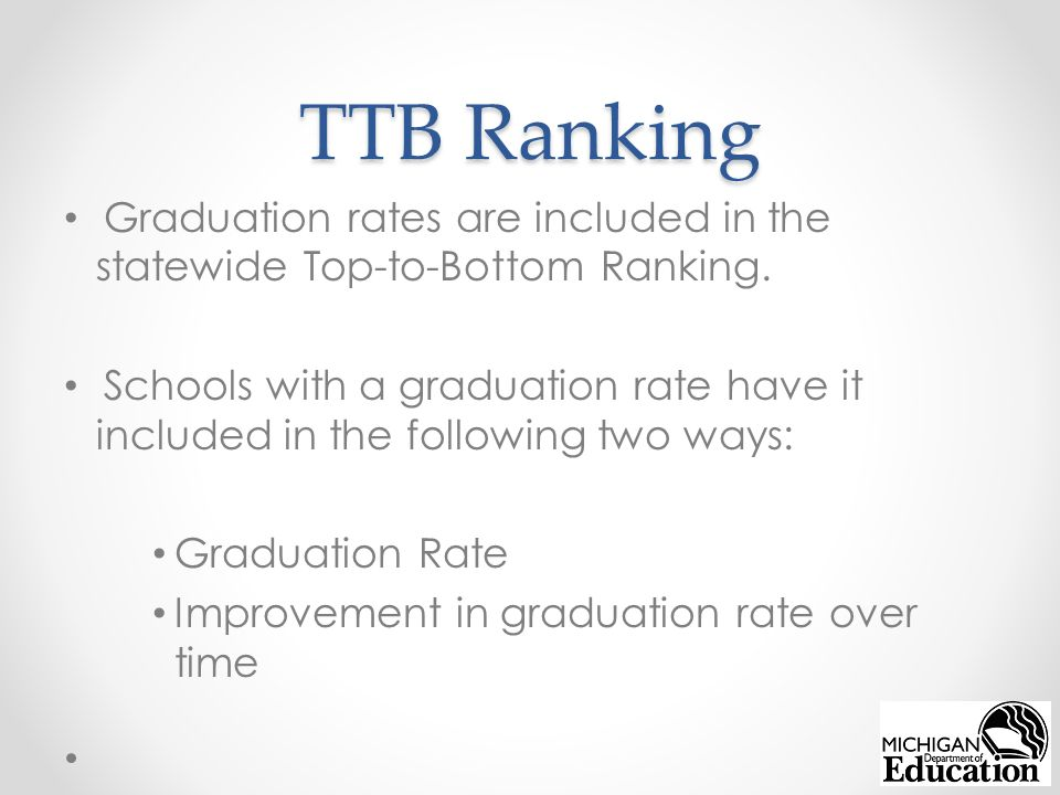 TTB Ranking Graduation rates are included in the statewide Top-to-Bottom Ranking.