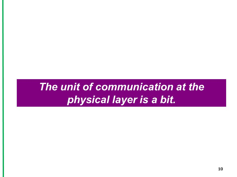 10 The unit of communication at the physical layer is a bit.