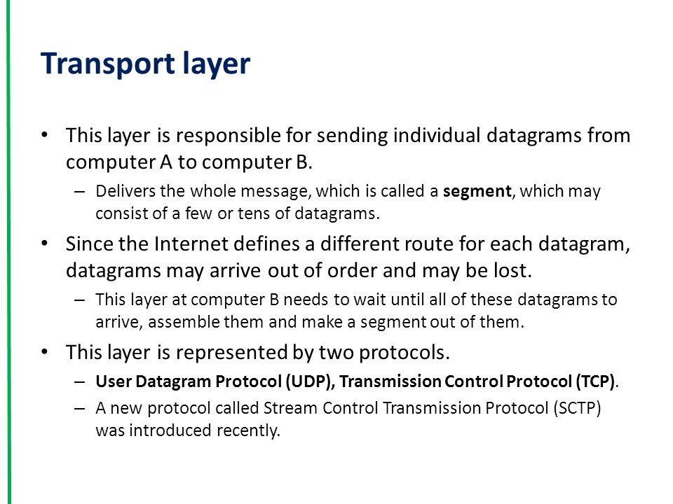 Transport layer This layer is responsible for sending individual datagrams from computer A to computer B.