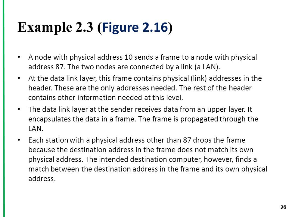 Example 2.3 ( Figure 2.16 ) A node with physical address 10 sends a frame to a node with physical address 87.