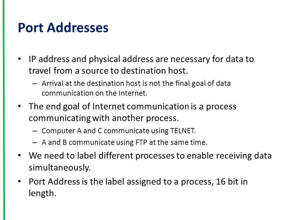 Port Addresses IP address and physical address are necessary for data to travel from a source to destination host.