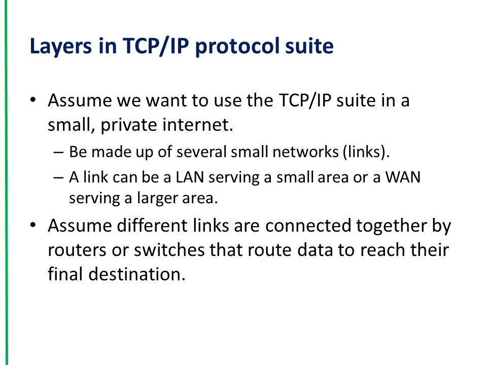 Layers in TCP/IP protocol suite Assume we want to use the TCP/IP suite in a small, private internet.