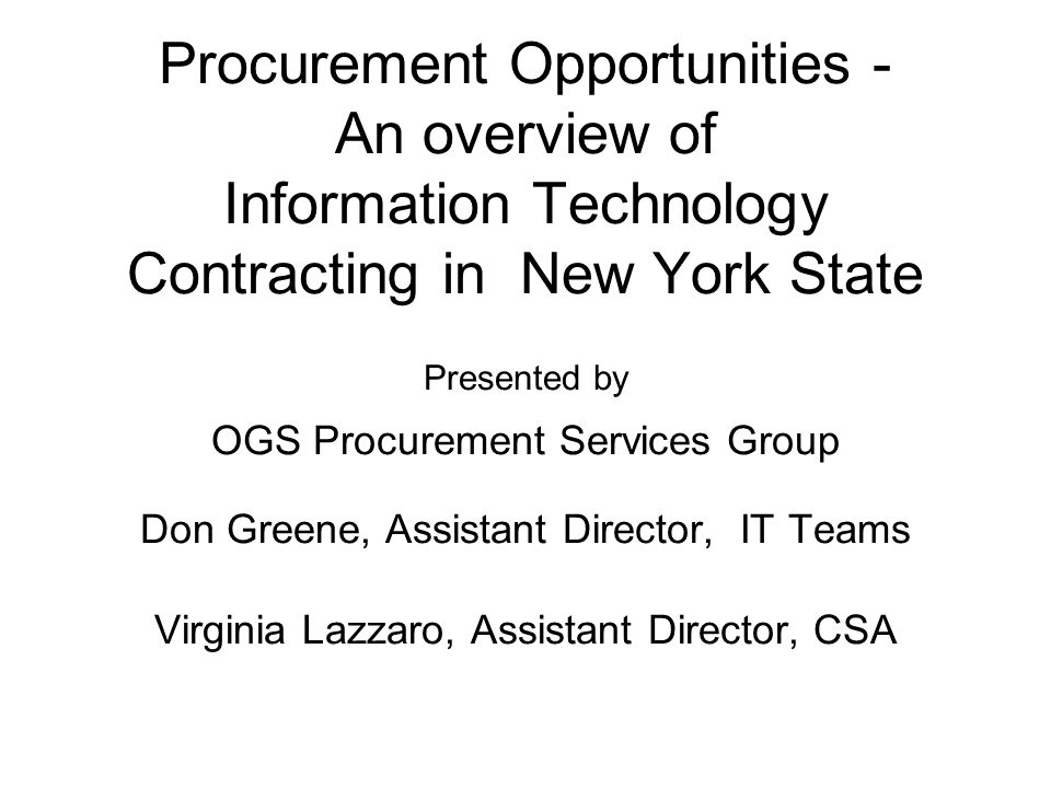 Procurement Opportunities - An overview of Information