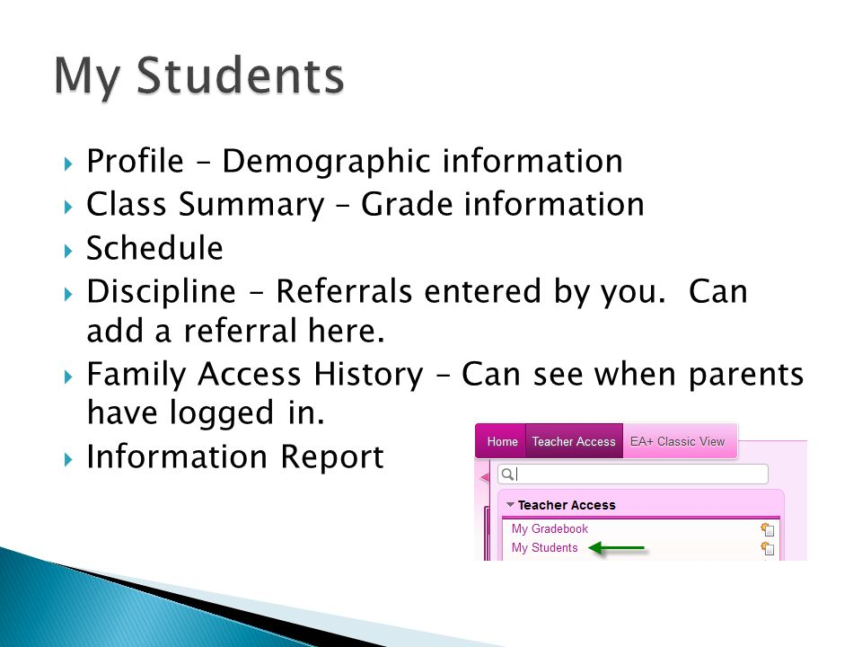  Profile – Demographic information  Class Summary – Grade information  Schedule  Discipline – Referrals entered by you.
