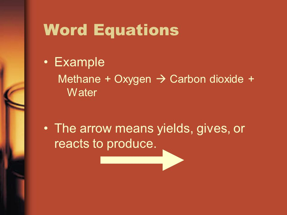 Word Equations Example Methane + Oxygen  Carbon dioxide + Water The arrow means yields, gives, or reacts to produce.