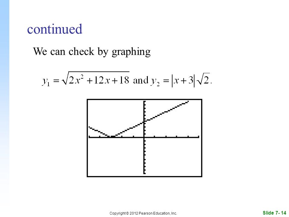 Slide Copyright © 2012 Pearson Education, Inc. continued We can check by graphing