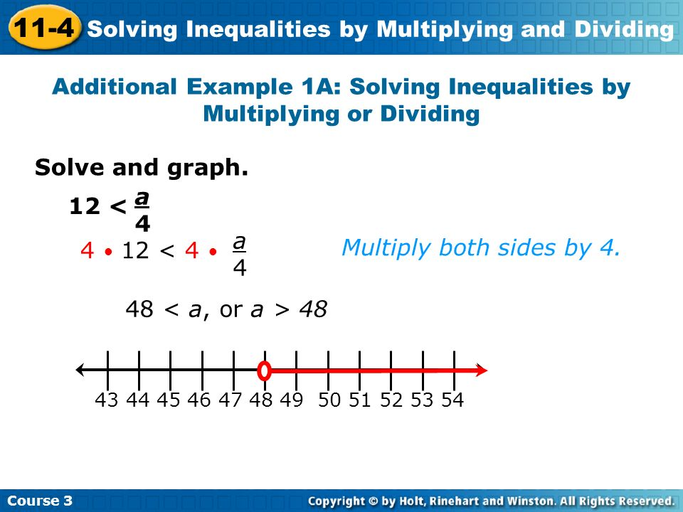 Solving inequalities using multiplication or division.