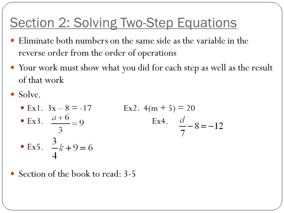 Linear Equations And Inequalities UNIT 3 Section 1 Solving