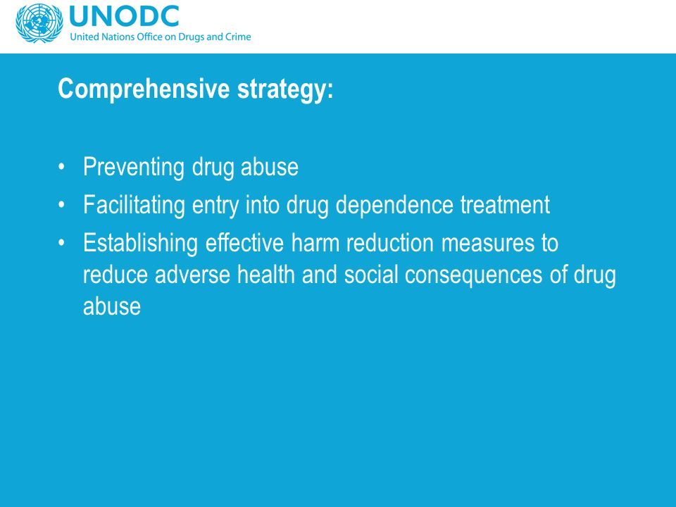 Comprehensive strategy: Preventing drug abuse Facilitating entry into drug dependence treatment Establishing effective harm reduction measures to reduce adverse health and social consequences of drug abuse