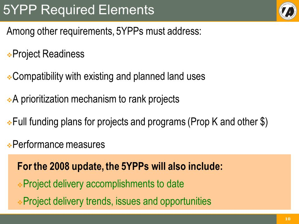 10 5YPP Required Elements Among other requirements, 5YPPs must address:  Project Readiness  Compatibility with existing and planned land uses  A prioritization mechanism to rank projects  Full funding plans for projects and programs (Prop K and other $)  Performance measures For the 2008 update, the 5YPPs will also include:  Project delivery accomplishments to date  Project delivery trends, issues and opportunities