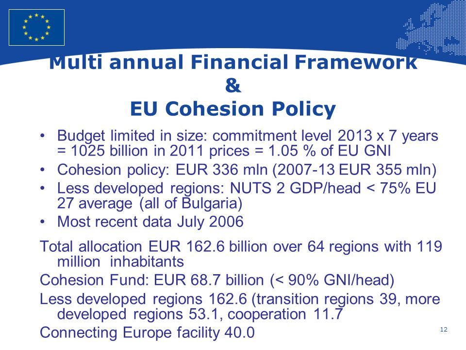 12 European Union Regional Policy – Employment, Social Affairs and Inclusion Multi annual Financial Framework & EU Cohesion Policy Budget limited in size: commitment level 2013 x 7 years = 1025 billion in 2011 prices = 1.05 % of EU GNI Cohesion policy: EUR 336 mln ( EUR 355 mln) Less developed regions: NUTS 2 GDP/head < 75% EU 27 average (all of Bulgaria) Most recent data July 2006 Total allocation EUR billion over 64 regions with 119 million inhabitants Cohesion Fund: EUR 68.7 billion (< 90% GNI/head) Less developed regions (transition regions 39, more developed regions 53.1, cooperation 11.7 Connecting Europe facility 40.0