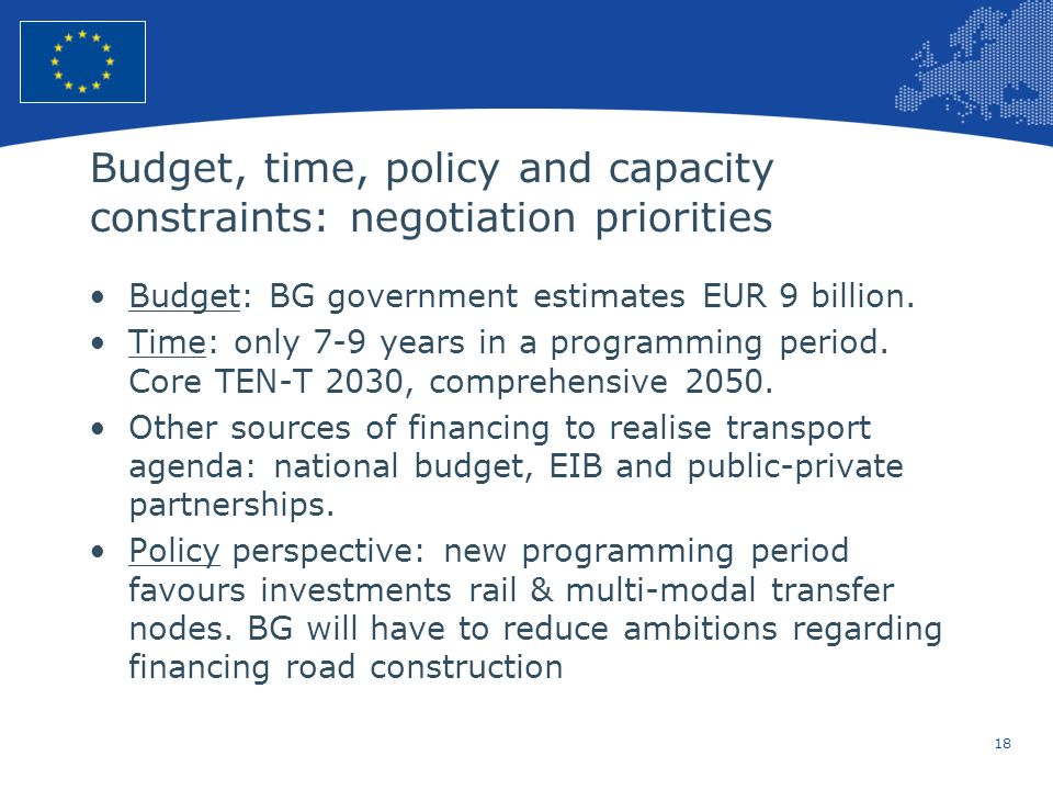 18 European Union Regional Policy – Employment, Social Affairs and Inclusion Budget, time, policy and capacity constraints: negotiation priorities Budget: BG government estimates EUR 9 billion.