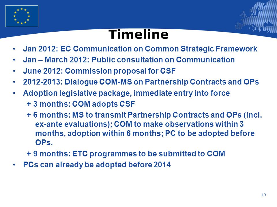 19 European Union Regional Policy – Employment, Social Affairs and Inclusion Timeline Jan 2012: EC Communication on Common Strategic Framework Jan – March 2012: Public consultation on Communication June 2012: Commission proposal for CSF : Dialogue COM-MS on Partnership Contracts and OPs Adoption legislative package, immediate entry into force + 3 months: COM adopts CSF + 6 months: MS to transmit Partnership Contracts and OPs (incl.