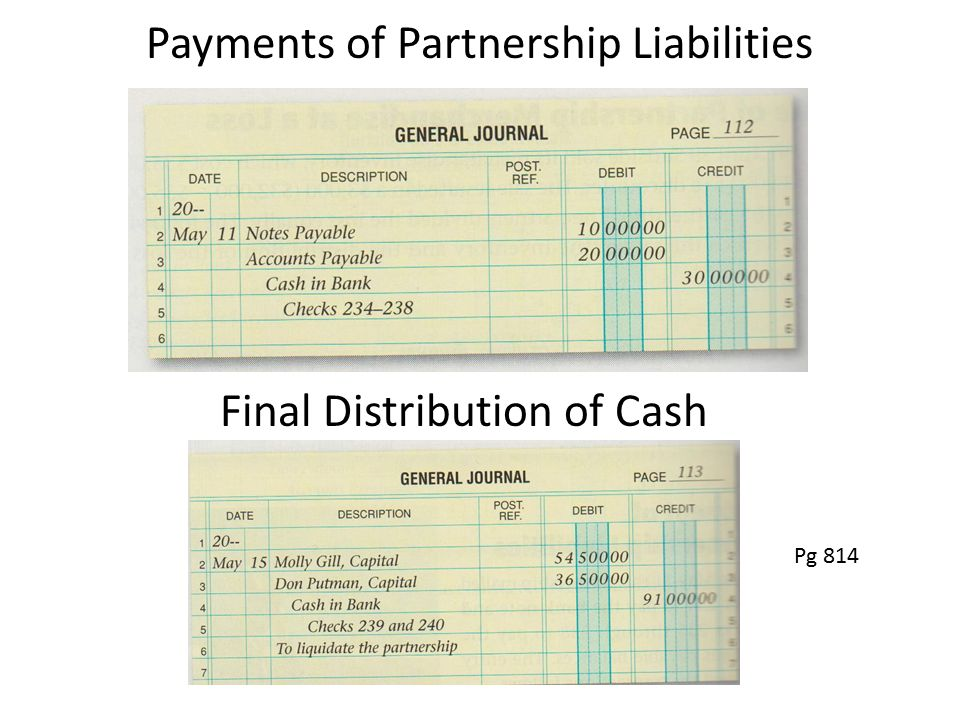 Payments of Partnership Liabilities Final Distribution of Cash Pg 814