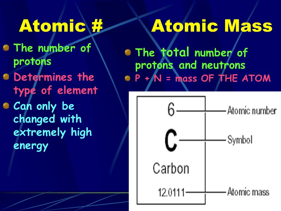 Atomic # The number of protons Determines the type of element Can only be changed with extremely high energy Atomic Mass The total number of protons and neutrons P + N = mass OF THE ATOM