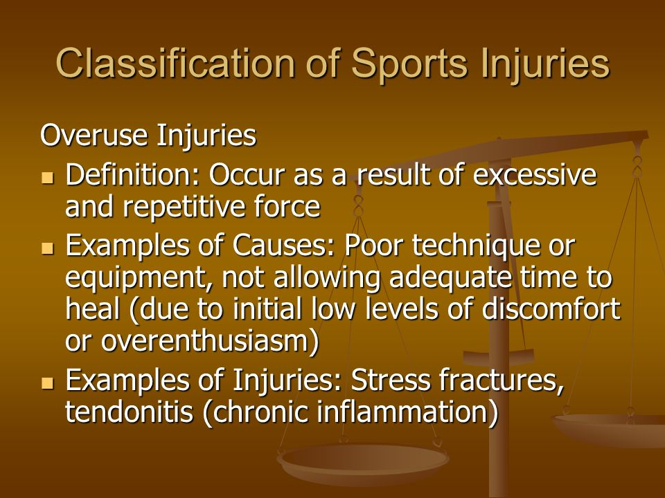 Sports Medicine Option 3  Classification of Sports Injuries