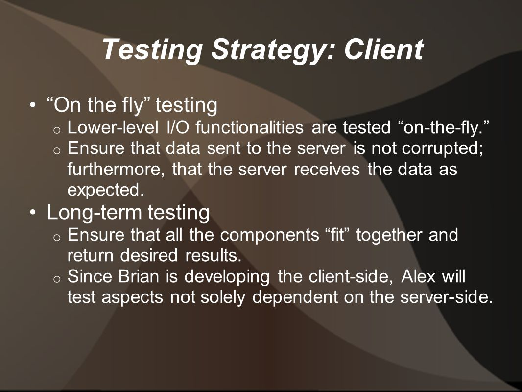 Testing Strategy: Client On the fly testing o Lower-level I/O functionalities are tested on-the-fly. o Ensure that data sent to the server is not corrupted; furthermore, that the server receives the data as expected.