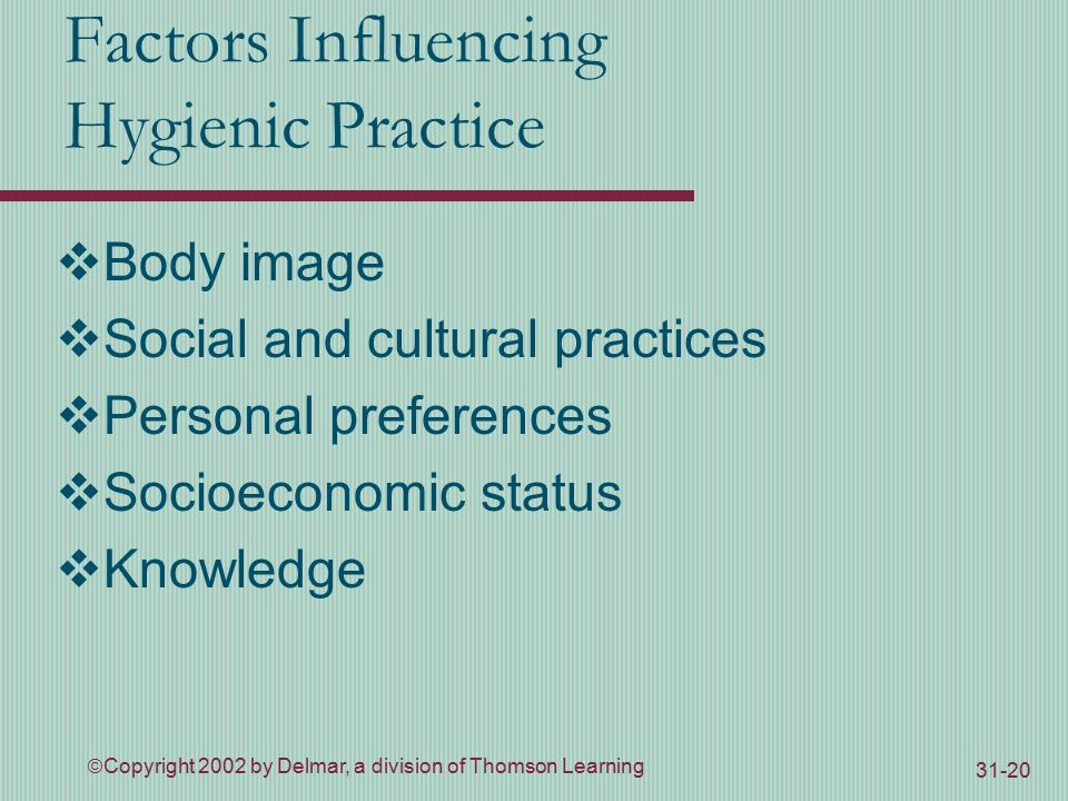  Copyright 2002 by Delmar, a division of Thomson Learning Factors Influencing Hygienic Practice  Body image  Social and cultural practices  Personal preferences  Socioeconomic status  Knowledge