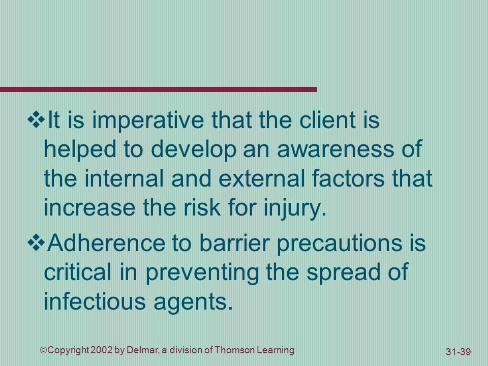  Copyright 2002 by Delmar, a division of Thomson Learning  It is imperative that the client is helped to develop an awareness of the internal and external factors that increase the risk for injury.