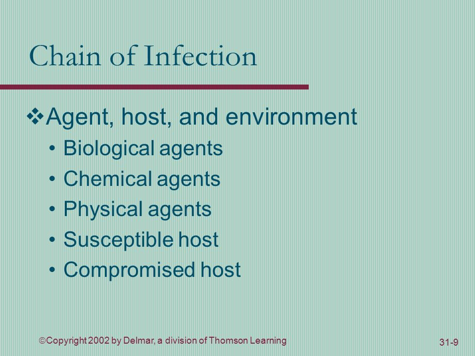  Copyright 2002 by Delmar, a division of Thomson Learning 31-9 Chain of Infection  Agent, host, and environment Biological agents Chemical agents Physical agents Susceptible host Compromised host
