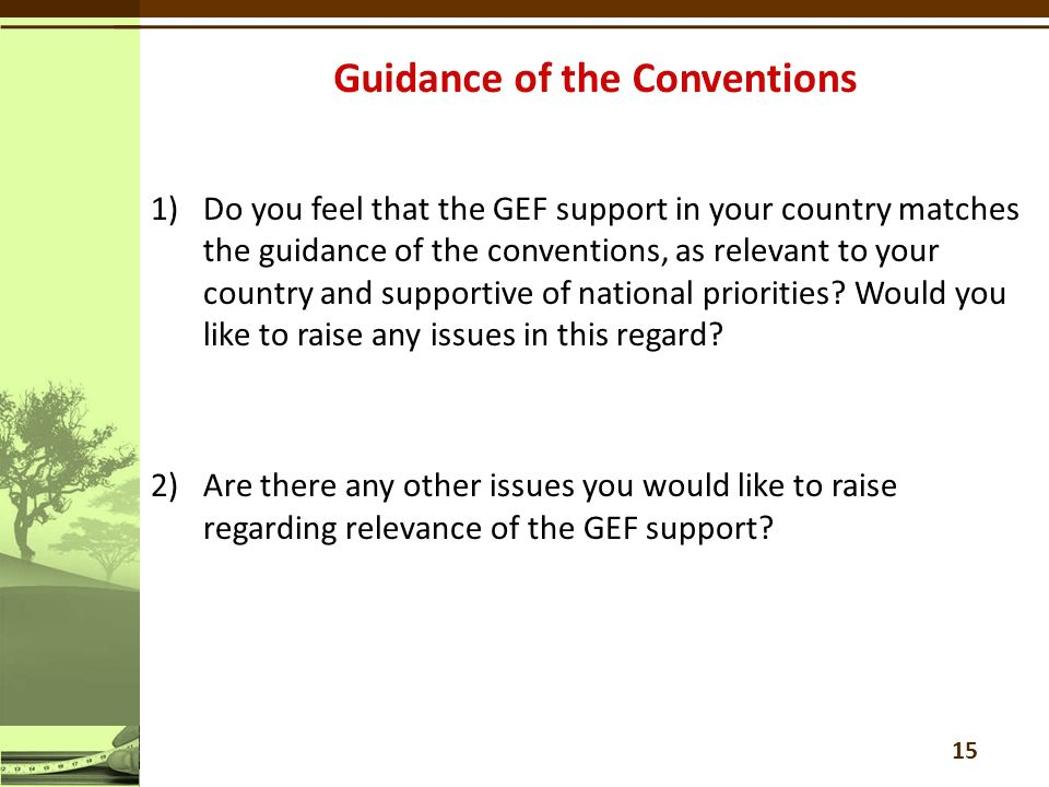 1)Do you feel that the GEF support in your country matches the guidance of the conventions, as relevant to your country and supportive of national priorities.