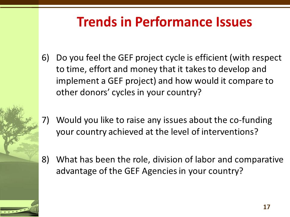 6)Do you feel the GEF project cycle is efficient (with respect to time, effort and money that it takes to develop and implement a GEF project) and how would it compare to other donors' cycles in your country.