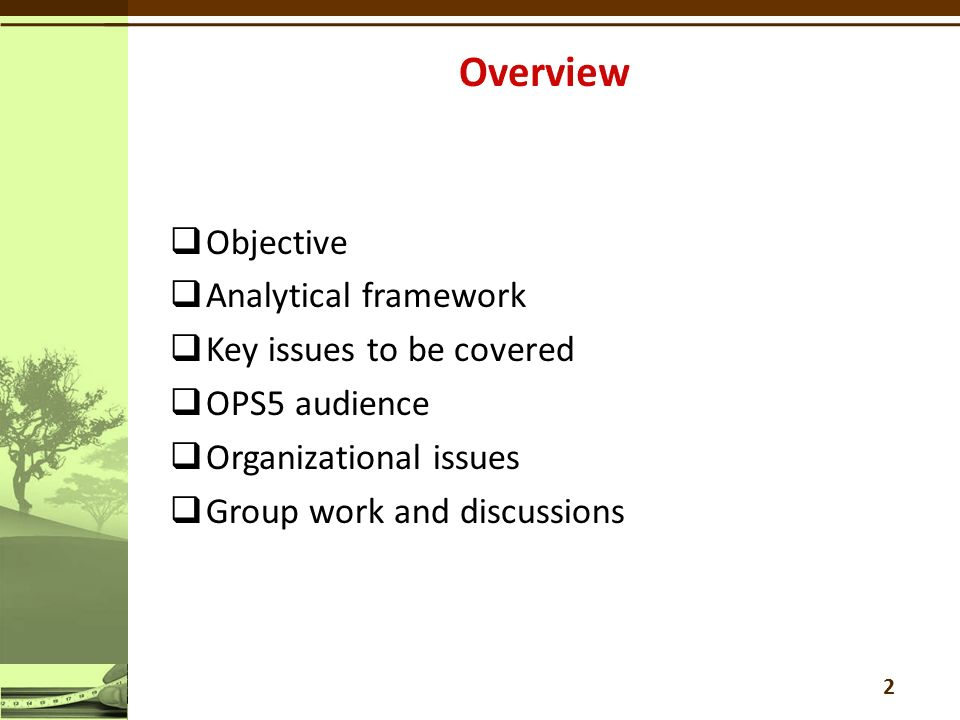  Objective  Analytical framework  Key issues to be covered  OPS5 audience  Organizational issues  Group work and discussions 2
