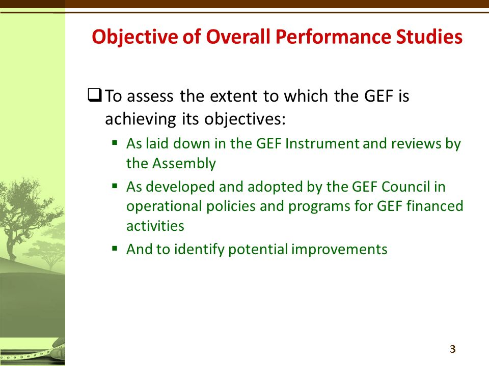  To assess the extent to which the GEF is achieving its objectives:  As laid down in the GEF Instrument and reviews by the Assembly  As developed and adopted by the GEF Council in operational policies and programs for GEF financed activities  And to identify potential improvements 3